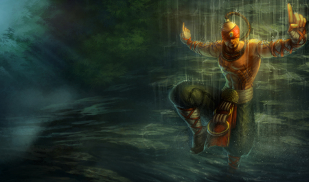Lee Sin - The Blind Monk - action, fighter, cg, lee sin, lee sin - the blind monk, blindmonk splash, adventure, blind monk, monk, splash, blindmonk, the blind monk