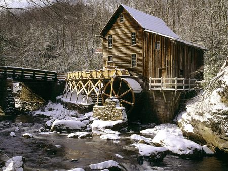 Glade Creek Grist Mill - forest, house, water, watermill, mill, virginia, winter