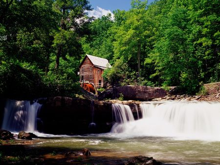 Glade Creek Grist Mill - forest, house, water, watermill, mill, virginia