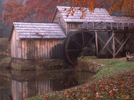 Mabry Mill - forest, autumn, house, water, watermill, mill, virginia