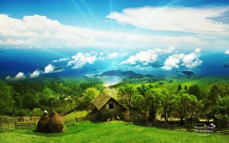 Heaven\'s Farm !!! - heaven, blue, house, grass, light, landscape, sky, green, abstract, farm, summer, 3d-art, nature