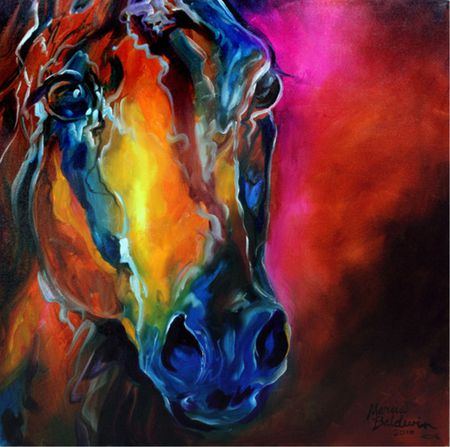 Allure Arabian Abstract by Marcia Baldwin - colorful, marcia baldwin, equine, horse
