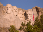 Mt Rushmore w/ Flag
