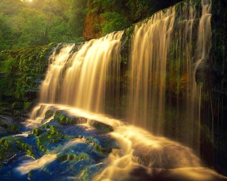 Golden Falls - forest, pretty, water, golden, river, beautiful, pool, waterfalls
