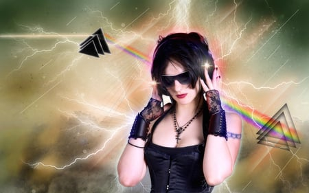 Music - stars, lighting, music, lace, hearts, head phones, barbed wire, shades, wallpaper, cheep sunglasses, cross, entropy, pink floyd