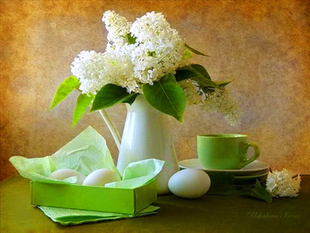 Apple green - flowers, cup, white, apple green, lilacs
