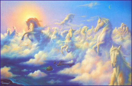 Jim Warren  * Above the Clouds - art, jim warren, fantasy, cloud, painting, horse, sky, sea