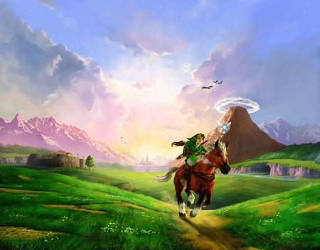 Link riding Epona - epona, hyrule, zelda, link, the legend of zelda, awesome