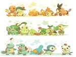 Pokemon Starters playing with Pokemballs