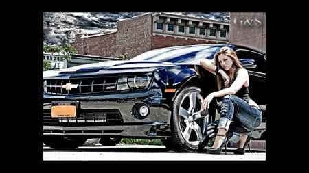 2010 Camaro And Hottie - redhead, cool, hottie, hot, heels, 2010, jeans, chevy, model, cars, brunette, girl, red, camaro, red head, hot rod