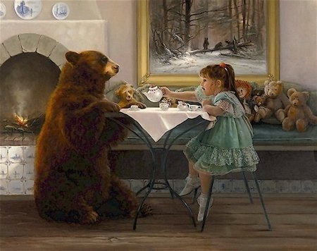 Painting by Lynn Lupetti - art, girl, lynn lupetti, painting, bear, child