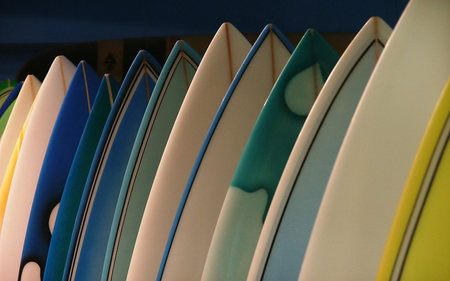 surf boards - pretty, colorful, wet, surf, beach, tide, photography, manmade, wood, ocean, colors, fun, waves, abstract, sport, water, summer