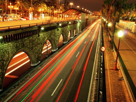 city lights - red, colorful, orange, colors, yellow, busy, highway, photography, city, bridge, bright, road, manmade