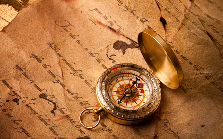 Golden Compass - pretty, amazing, golden, beautiful, parchment, abstract, old, compass, nice, way, scroll, letter