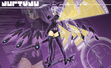 Purple Heart - wings, beautiful, thigh highs, sexy, cute, hyperdimension neptunia, purple, kokoa, hot, beauty, anime girl, weapon, sword