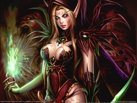 Blood Elf - world of warcraft- trading card game, female, hd, cg, elf, world of warcraft, video game, sexy, fantasy, blood elf, trading card game, hot, beauty, soul, wow