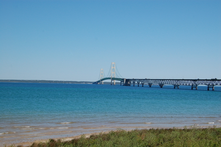 The Mighty Mac - Mackinac Bridge - upper pennisula, great lakes, water, beautiful, michigan, mackinac bridge
