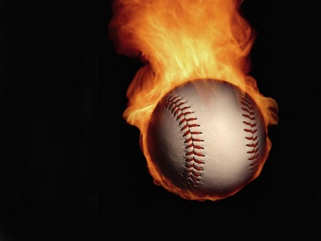 Flaming Baseball - fire, baseball, flaming baseball, flaming, ball
