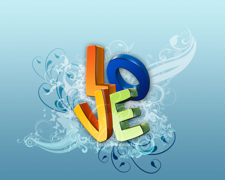 Love - 3d, design, colors, word, blue