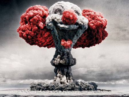 clown bomb explosion - funny, photoshop, clown, smoke, nuclear, atom bomb, explosion