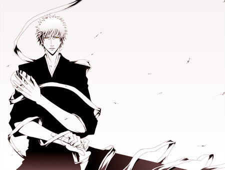 Ichigo in black and white - black and white, ichigo, mask, vizard