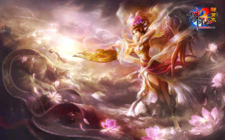 Jade Dynasty - Zhu Xian - guzheng, wings, flowers, heaven, armor, sunshine, cherry blossom, video game, zhu xian, jade dynasty, angel, cool, rose, female, fly, anime girl