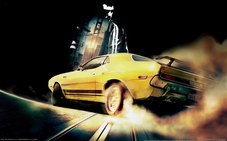 Driver: San Francisco - stunt, stunning, hd, action, slide, video game, yellow, driver, car, driver- san francisco, sportscar, shadow, man, wide, san francisco, adventure, skit, dark, hero, crime, style