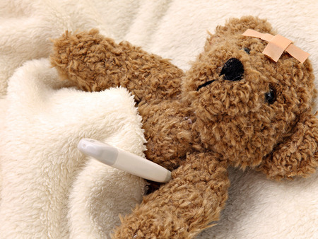 teddy bear - disease, a thermometer, a blanket, tape, soft toy, teddy bear, wallpaper sick