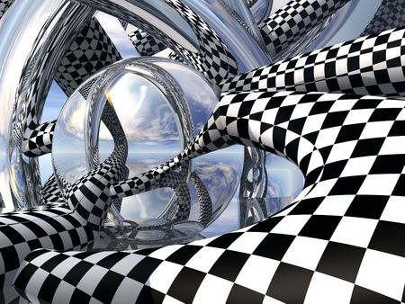Checkers and Mirrors - checkers, black, mirrors, white, rods, abstract, squares
