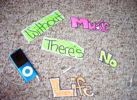 Music - rocks, no, carpet, earphone, headphone, blue, ipod, life, music, pop, country, happy, rap, true, truth, paper, white