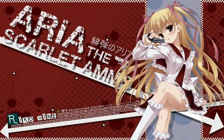 Mine Riku - beauty, sexy, hidan no aria, long hair, hot, brown eyes, pretty, stunning, beautiful, cute, anime igrl, blonde hair, gun