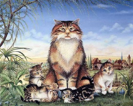 Mom and us - art, pet, mom, painting, cat, mother, kitten