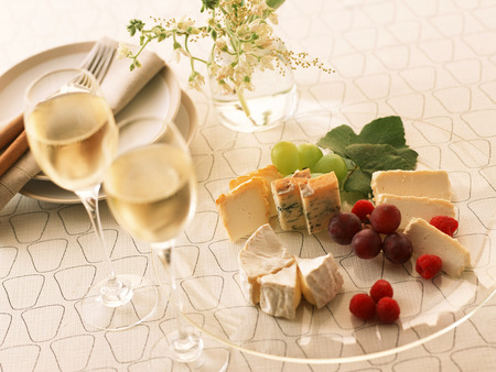 Cheese Platter - wine, cutlery, glasses, grapes, dish, berries, cheese, plate, cheeses, snack