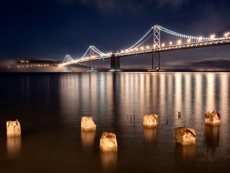 Oakland Bay Bridge at Night 2 - photo, photography, oakland, night lights, california, usa, bridge, san francisco
