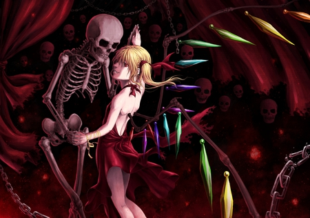 Dancing With the Dead - red, chain, tatsuya, wings, skeleton, flandre, scarlet, curtains, creepy, holding hands, touhou, crystal, vampire, bones, skull
