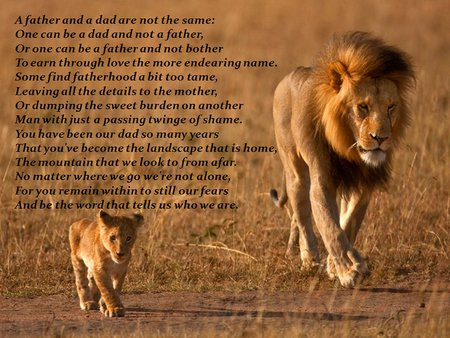 Father's poem * A Father and a Dad Are Not the Same * - dad, father quote, poem, cub, lion