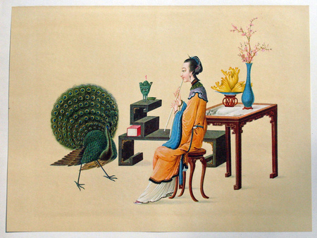 Chinese painting - flowers, peacock, whistle, women, paun, vaza, vase, table, fluier, flori, femeie, pictura chineza, chinese painting, masa
