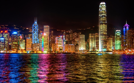 Hong Kong - architecture, house, skyscapers, dusk, clouds, lights, nice, boat, boats, splendor, cities, beauty, reflection, lovely, houses, buildings, hong kong, sky, building, water, colorful, hd, beautiful, twilight, sea, photography, city, skyline, others, river, magnificent, gorgeous, night, amazing, view, colors, skyscrapers, hd wallpaper, nights, dark, peaceful, nature, reflections