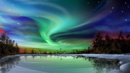 Mystical Sky - cold, blue, light, aurora, ice, sky, northern lights, green, lake, nature