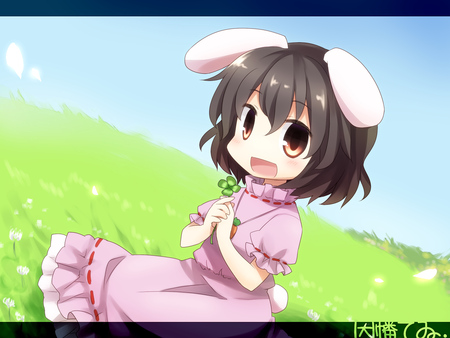 Cute girl - dress, grass, ears, game, tewi, yamabuki, yusuraume, kawai, cute, girl, green, touhou, project, inaba
