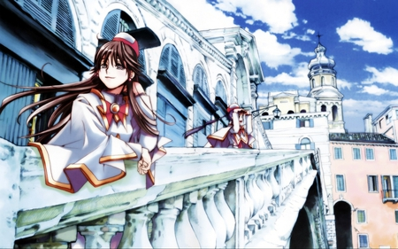 Beautiful Palace - female, dress, beautiful palace, cute girl, beautiful, anime princess, blue skies, white palace, anime, lovely place, anime brown hair, temple, village, anime girl