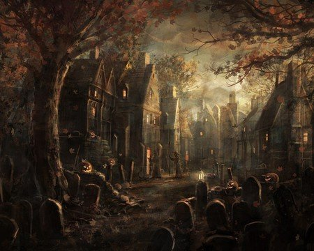 Scary Town Fantasy Abstract Background Wallpapers On