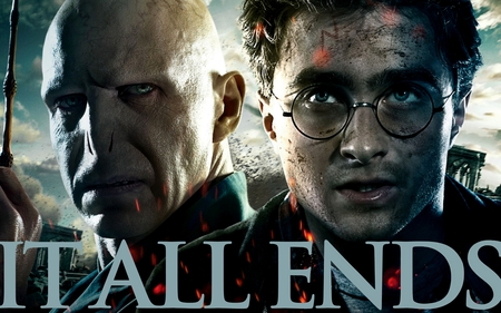 It All Ends Harry and Voldemort 4800x3000 - part 2, deathly hallows, harry potter, hp7, voldemort