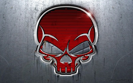 RED SKULL (METALLIC) - shiny, skull, bones, abstract, gray, red, death, metallic