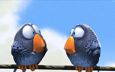 Twin Birds - background, birds, sunny, sky, pixal, duo, 3d, twin, two, wallpaper, animals