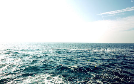 The Great Sea - background, wallpaper, ocean, sunny, great, sky, sea, blue