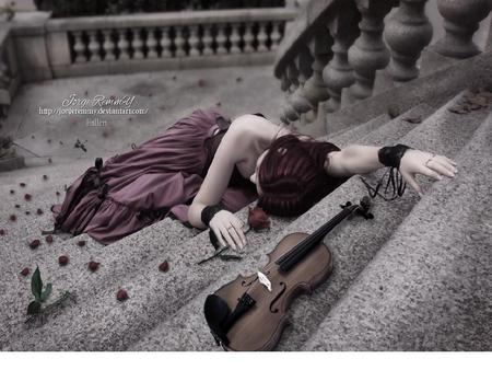 Fallen - colorful, roses, instuments, red, flower, stone, woman, violin, stairs, violet, flowers, color, colors, steps, nature, fall, fallen, beauty, beautiful, purple, fantasy, girl, sad, green