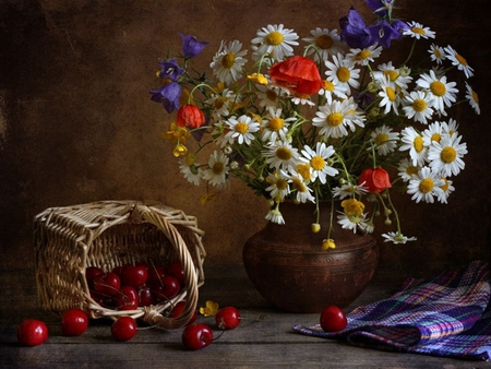 Still Life - red, pretty, colorful, poppies, cherries, vase, beautiful, still life, photography, wildflowers, flowers, beauty, poppy, lovely, colors, spring, daisies, basket, nature, white, daisy, cherry