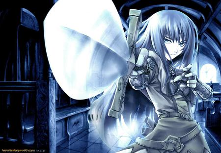 Female Knight - armor, anime, sword, anime knight, beautiful girl, anime warrior, female knight, female warrior, blades