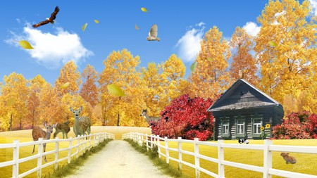 Fall at the Cabin - lane, drive, owl, log house, bunny, trees, rabbit, fall, clouds, fence, fawn, autumn, deer, cabin, colors, leaves, sky, firefox persona, eagle